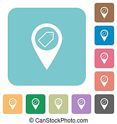 Tagging GPS map location rounded square flat icons - Tagging...