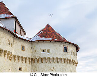 Castle Veliki Tabor in Croatia - Drone filming the old...