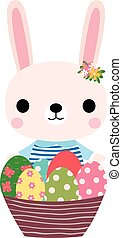 Cute pink Easter bunny with colorful eggs