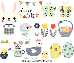 Happy Easter fun vector set with cute animals - bunny, peeps and butterflies for greeting cards, invitations and kids projects.