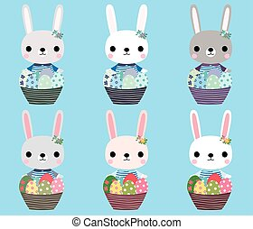 Cute Easter bunnies with eggs