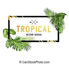 Black and Gold tropical Frame - Black and gold tropical...