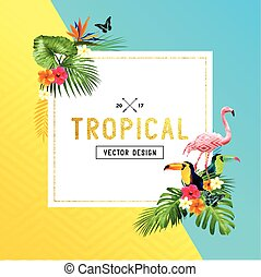 tropical Border Design - Colourful and vibrant tropical...