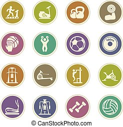 Sport equipment icons set
