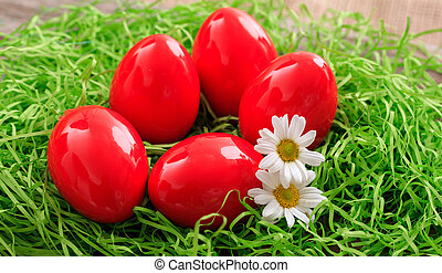 Easter eggs on grass - Red Easter eggs and daisies on grass