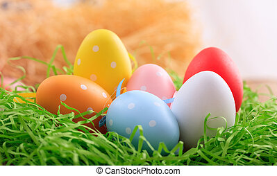 Easter eggs on grass - Variety of colorful Easter eggs on...