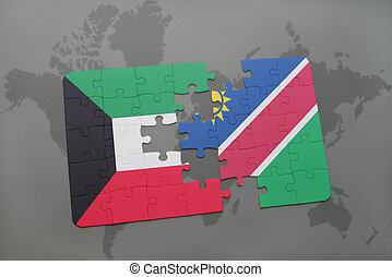 puzzle with the national flag of kuwait and namibia on a...