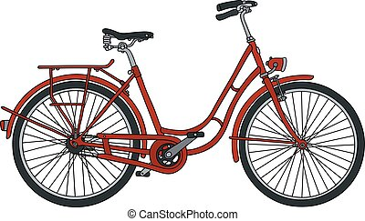 Old red bicycle - Hand drawing of a classic red bicycle