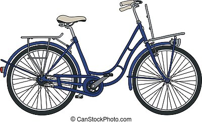 Classic blue bicycle - Hand drawing of a classic blue...