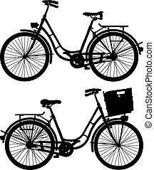 Two classic bicycles - Hand drawing of a black silhouette of...