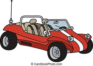 Red dunne buggy - Hand drawing of a funny red dune buggy -...