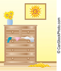 chest of drawers - an illustration of a room interior with a...