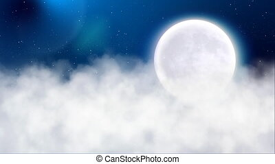 Night with moon - flying above clouds