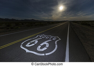 Route 66 Sign with Mojave Desert Full Moon - Route 66 sign...
