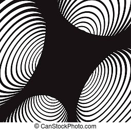 Black and white abstract spiral tunnel background.