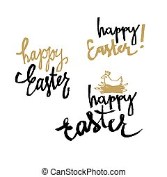 """""""Happy Easter"""" calligraphy. Set of holiday greetings. Hand drawn vector illustration"""