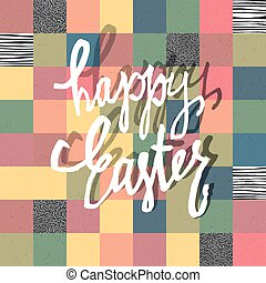 Happy Easter Greeting Card. Mosaic Seamless Textured Pattern Background. Pastel colors