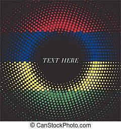Half tone square round gradient template Mauritius flag
