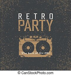Retro Party. The best of 80's. Vintage Music Party Leaflet...