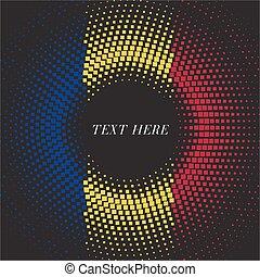 Half tone square round gradient template Romania flag