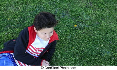 Portrait of a smiling child lying on green grass - Portrait...