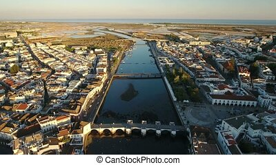 Aerial. View from the sky of Gilao River in Tavira. -...