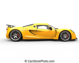 Yellow sports supercar - side view