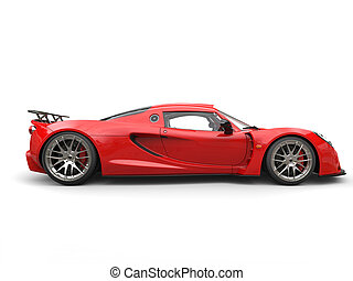 Cherry bomb red sports supercar - side view