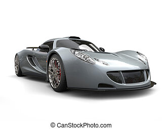 Metallic grey modern supercar - beauty shot