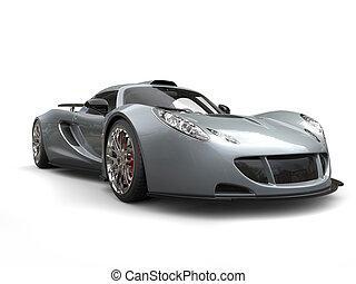 Metallic grey modern supercar - beauty shot