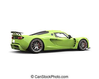Fresh green futuristic supercar - side view