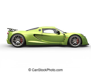 Metallic green sports supercar - side view