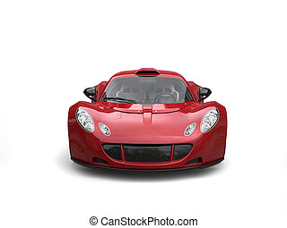 Cherry red modern supercar - front view