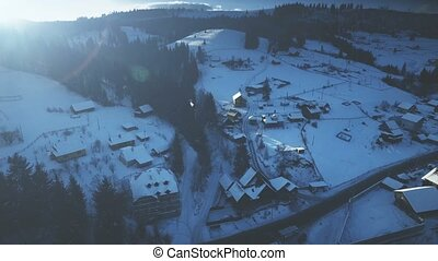 Aerial Drone View: Holidays in Ski Resort Bukovel