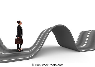 Difficult way . 3D Rendering - Businesswoman walks on a...