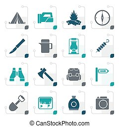 Stylized tourism and hiking icons - vector icon set