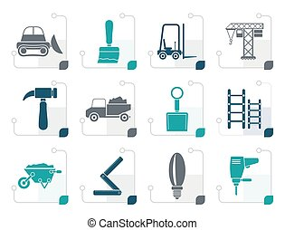 Stylized Building and Construction equipment icons - Vector...