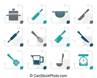 Stylized Cooking equipment and tools icons - vector icon set