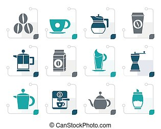 Stylized coffee industry signs and icons