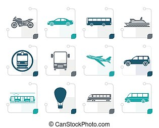 Stylized Travel and transportation of people icons - vector...