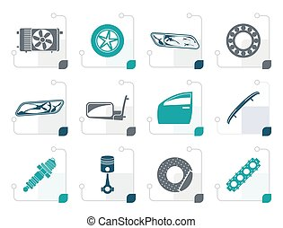 Stylized Realistic Car Parts and Services icons