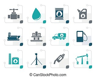 Stylized oil and petrol industry objects icons