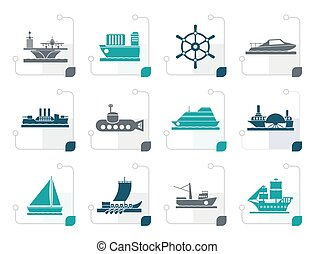Stylized different types of boat and ship icons