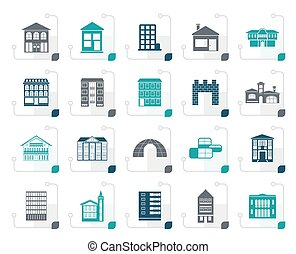 Stylized different kinds of houses and buildings