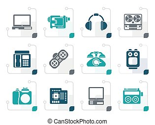 Stylized electronics, media and technical equipment icons