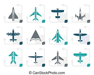 Stylized different types of plane icons