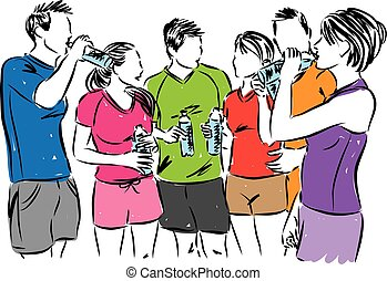 runners team group drinking water illustration