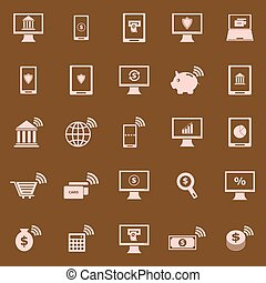 Online banking color icons on brown background, stock vector