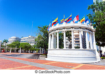 Flags in Guayaquil, Ecuador - Latin American flags waving in...
