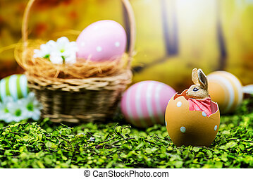 Happy Easter day, bunny and egg, Christians worldwide...